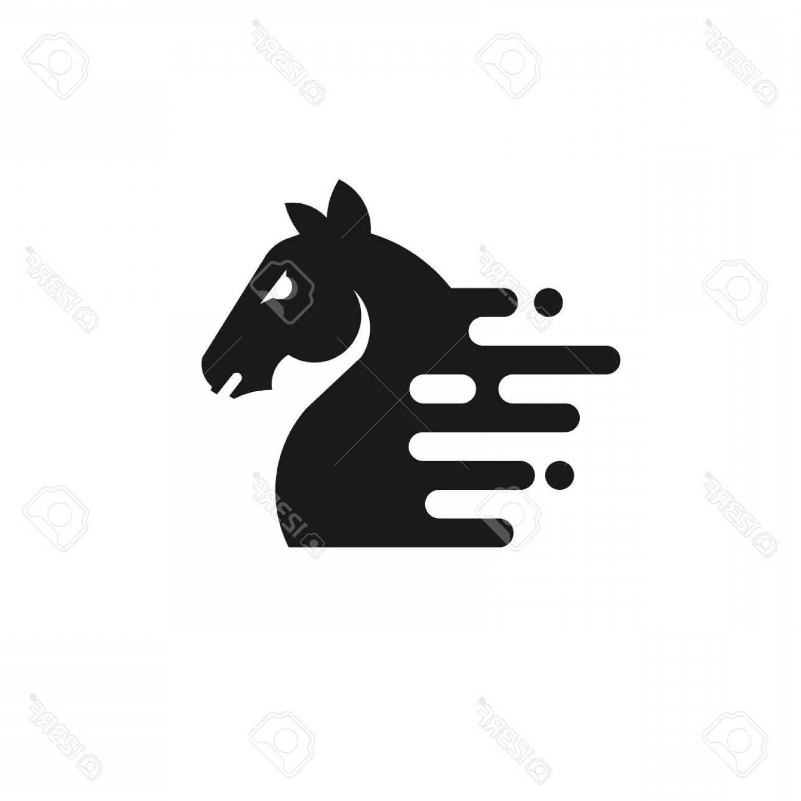1560x1560 Photostock Vector Horse Head Silhouette Outline Sport Farm Race