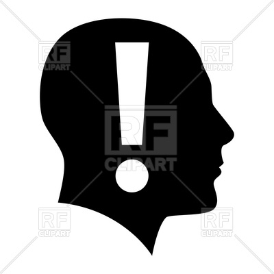 400x400 Head Silhouette With Exclamation Mark Inside Royalty Free Vector