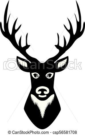 297x470 Vector Deer Head Silhouette Vector Clipart