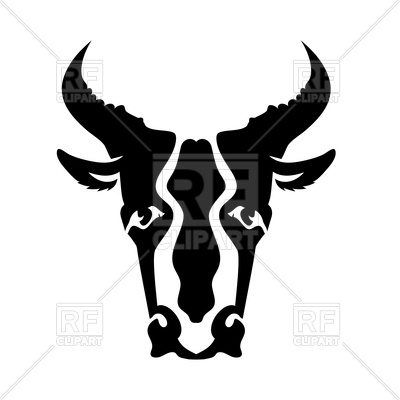 400x400 Bull Head Silhouette Isolated On A White Background Royalty Free