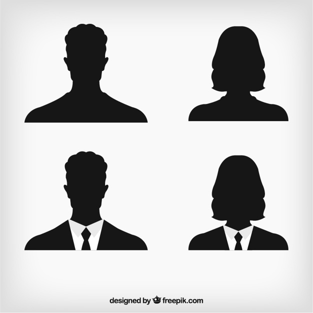 626x626 Human Avatar Silhouettes Vector Free Download
