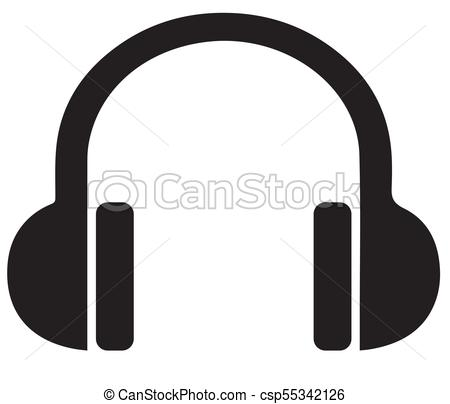 450x404 Headphone Silhouette Vector Illustration