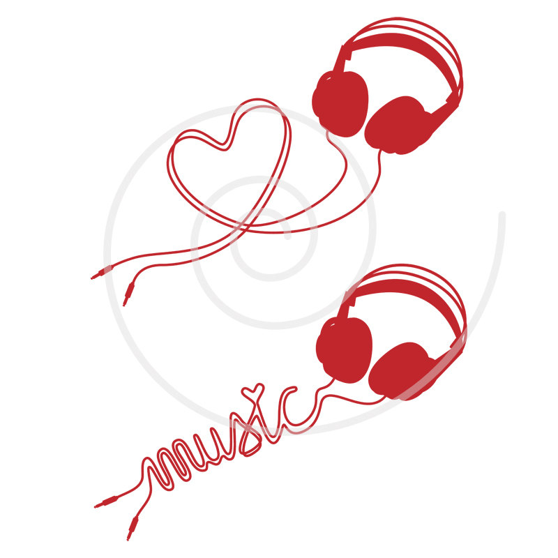 800x800 Music Love, Headphone With Heart, Digital Clip Art, Clipart, Head