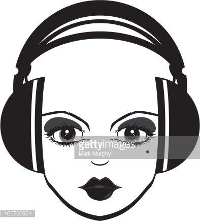 394x435 Headphones Girl Silhouette Premium Clipart