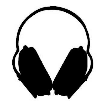 345x356 Casque Noir2 Forme Silhouette Music Headphones