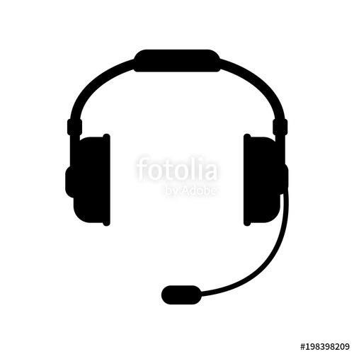 500x500 Vector Headphones Icon. Black Symbol Silhouette Isolated On