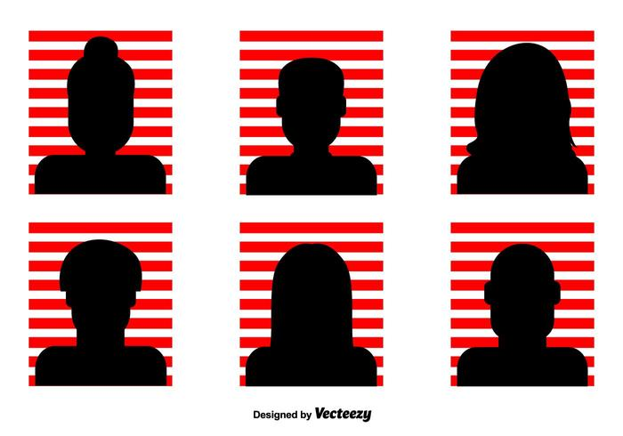 700x490 Red Striped Headshot Vector Icons