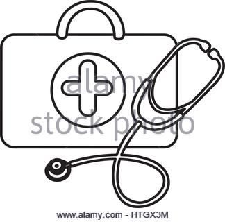 324x320 Silhouette Suitcase Health With Stethoscope, Syringe And Treatment