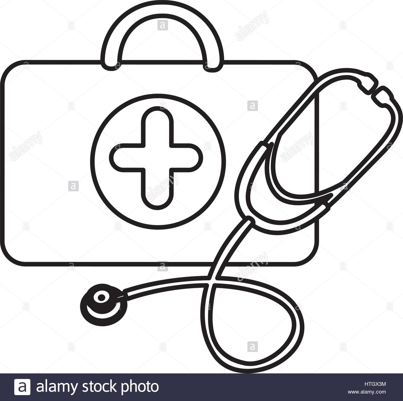 1300x1293 Silhouette Suitcase Health With Stethoscope Icon Stock Vector Art