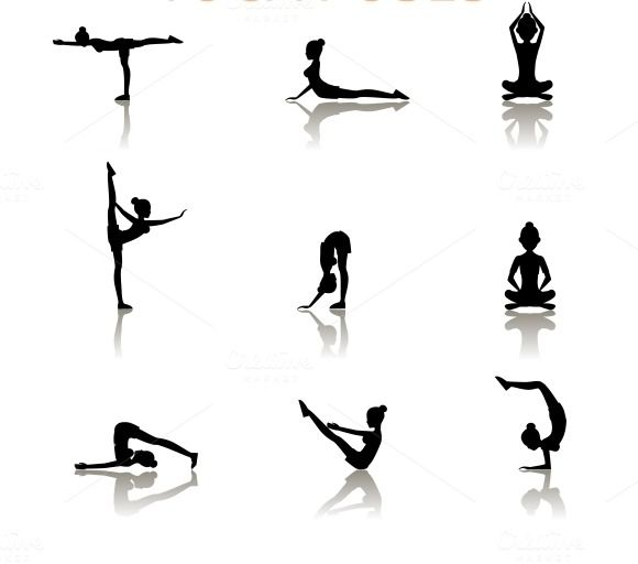 580x512 Yoga Silhouette Poses Yoga Yoga, Silhouettes And Pose