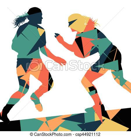 450x470 Active Women Rugby Players Young Healthy Sport Silhouettes