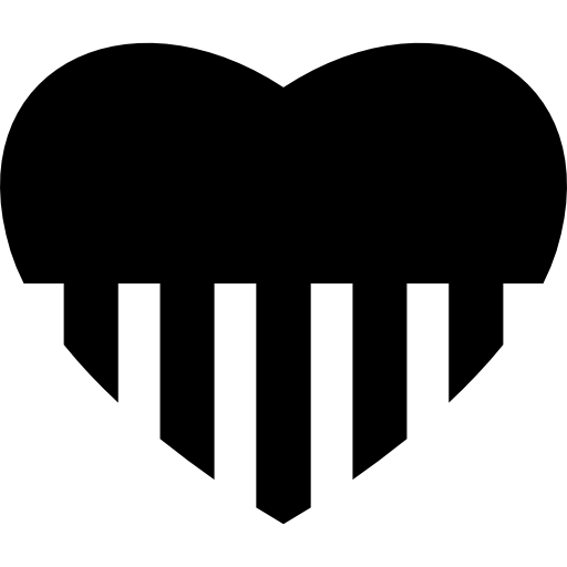 512x512 Heart Shape Silhouette With Stripes