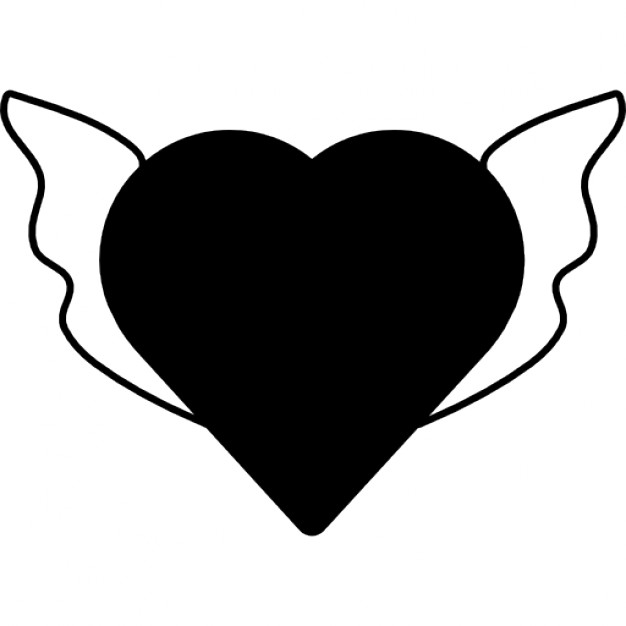 626x626 Heart Shape Silhouette With Wings Icons Free Download