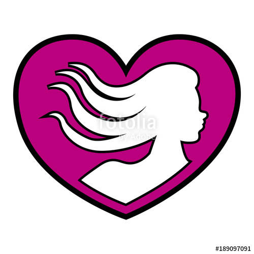 500x500 Heart Shape With Woman Silhouette Stock Image And Royalty Free