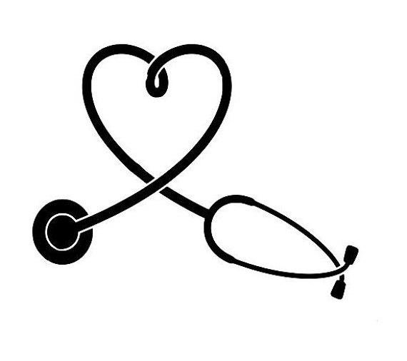 570x506 Stethoscope Svg Heart Shape Outline Laptop Cup Decal Svg Digital