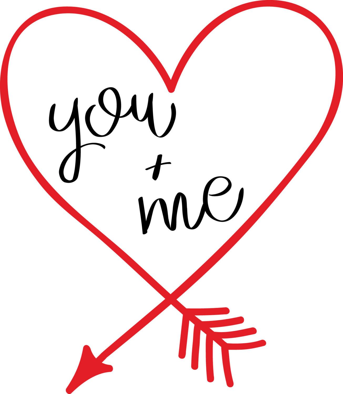 1305x1500 You + Me Heart Shaped Arrow, Vinyl, Cut File, Svg, Dfx, Digital
