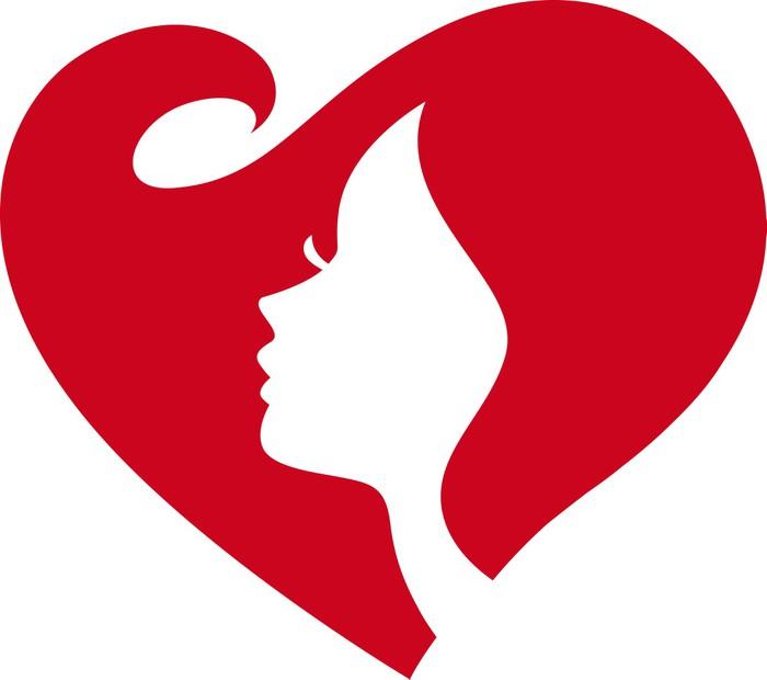 700x620 Love Heart Shape Woman Face Silhouette Wall Mural We