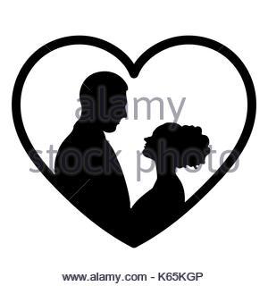 300x320 Monochrome Silhouette Heart Shape Portrait Caricature With Couple