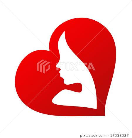 450x468 Woman Face Silhouette Inside Of A Heart Shape