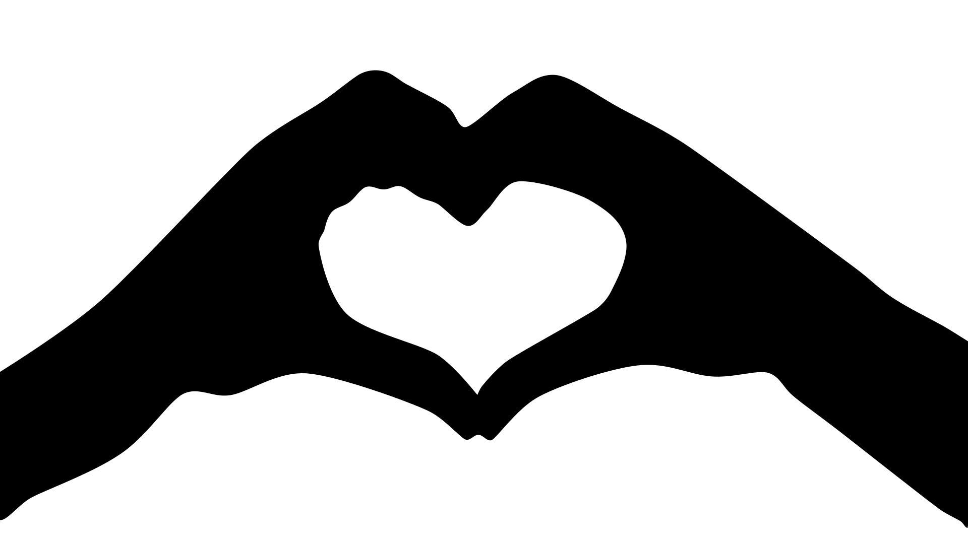 1920x1080 Heart Hands Silhouette Clipart