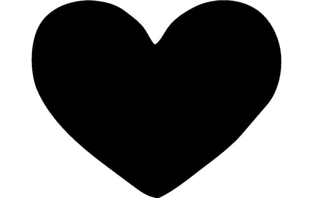 1002x633 Heart Silhouette Dxf File Free Download