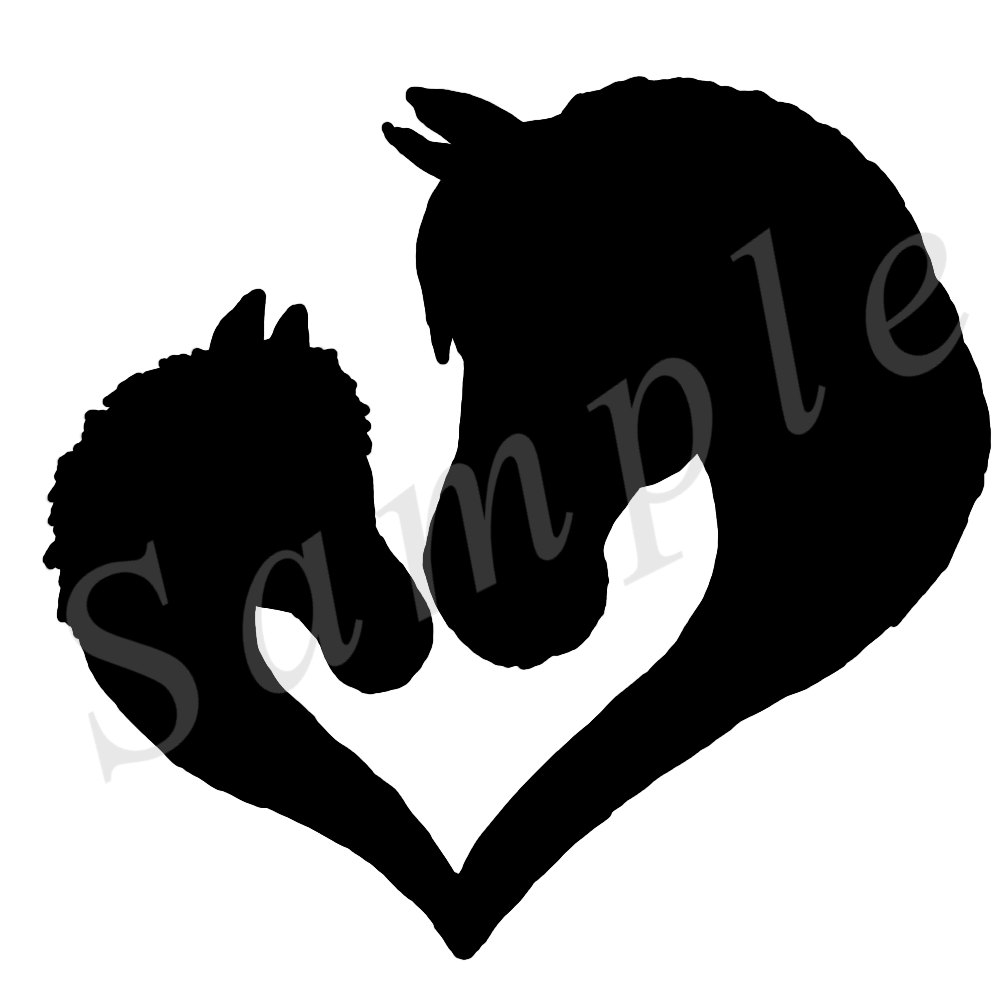 1000x1000 Mare Amp Foal Heart Silhouette Image Png For Making Tshirt