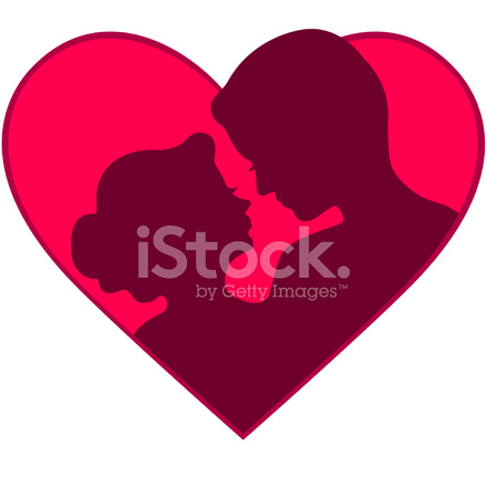 440x440 Couple Heart Silhouette Icon Stock Vector