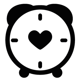 255x255 Clock Heart Silhouette Silhouette Of Clock Heart