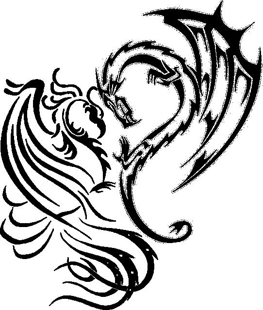 542x639 Silhouette Dragon Tattoos Best Of Phoenix Dragon Heart By Naruto