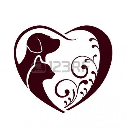 427x450 Cane Gatto Amore Cuore Archivio Fotografico