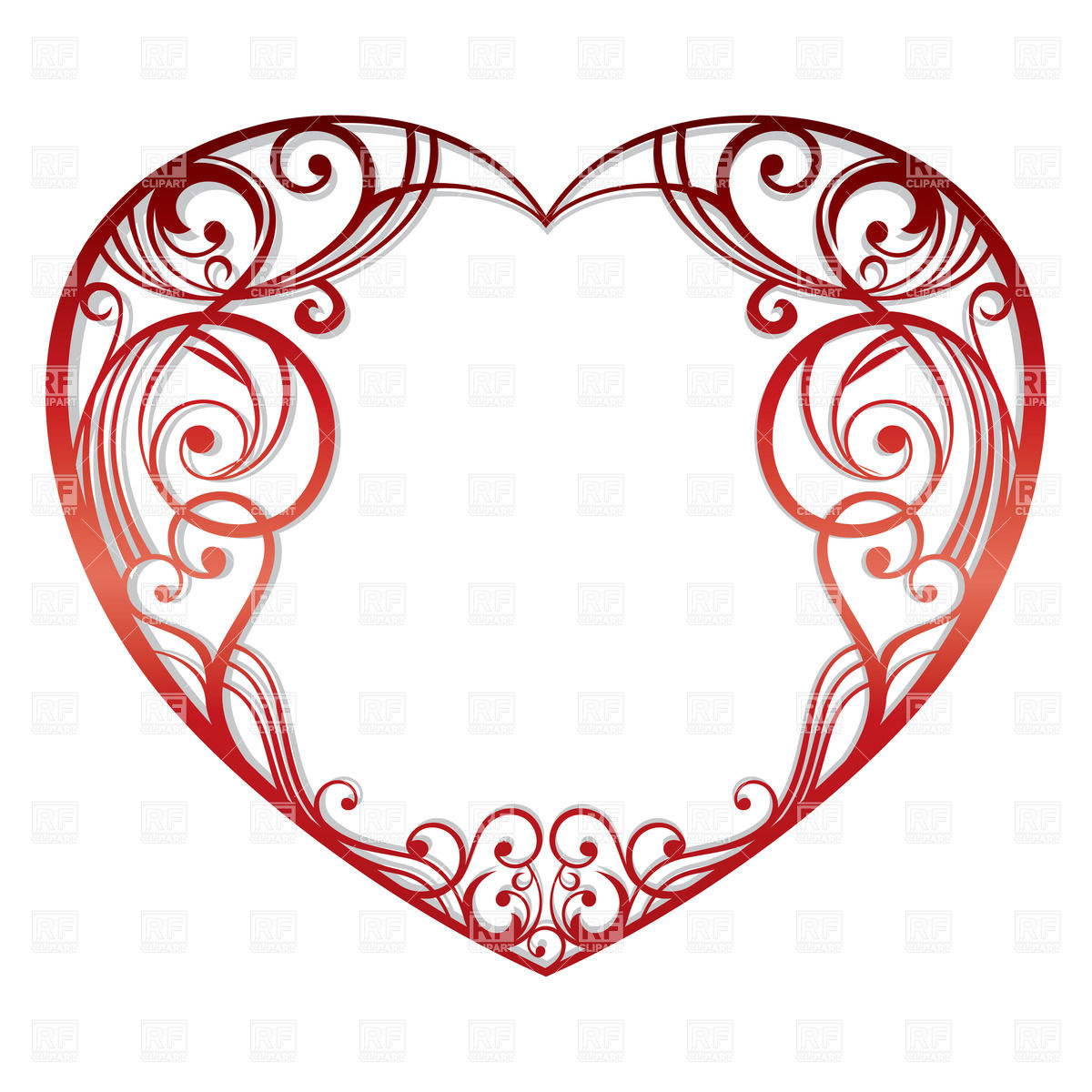 1200x1200 Ornate Heart Silhouette Royalty Free Vector Clip Art Image