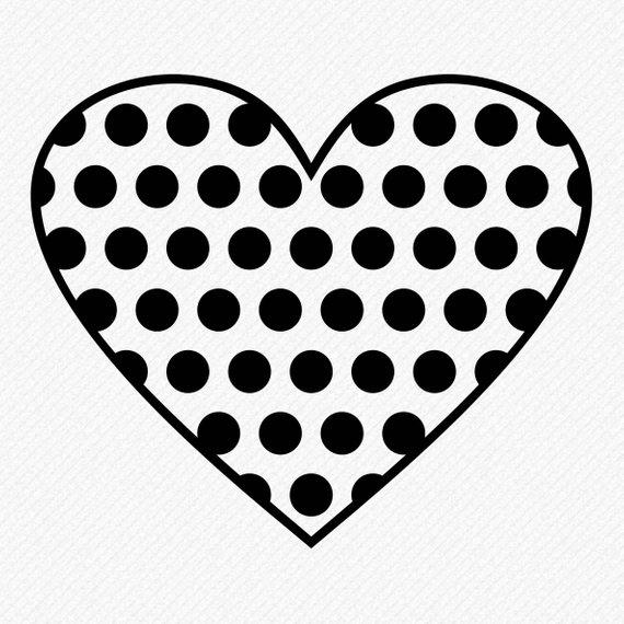 570x570 Polka Dots Heart Svg, Polka Dots Heart Silhouette, Polka Dot Heart