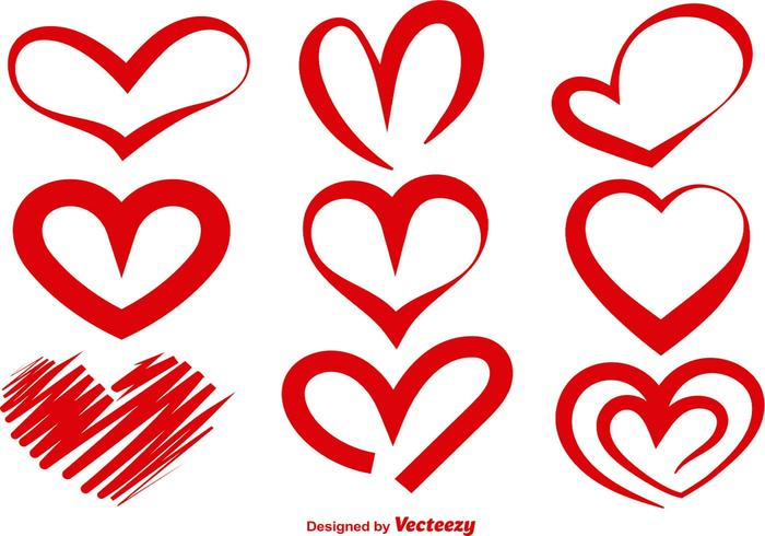 700x490 Red Vector Heart Silhouettes