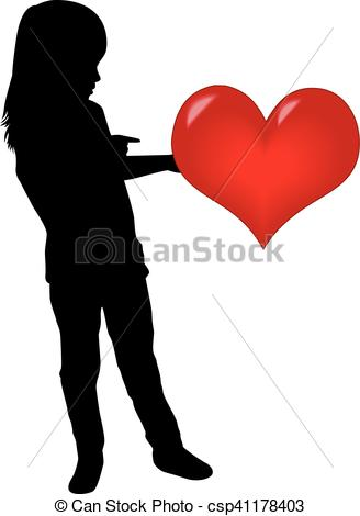 328x470 Silhouette Of A Girl With A Heart. Vector Clipart