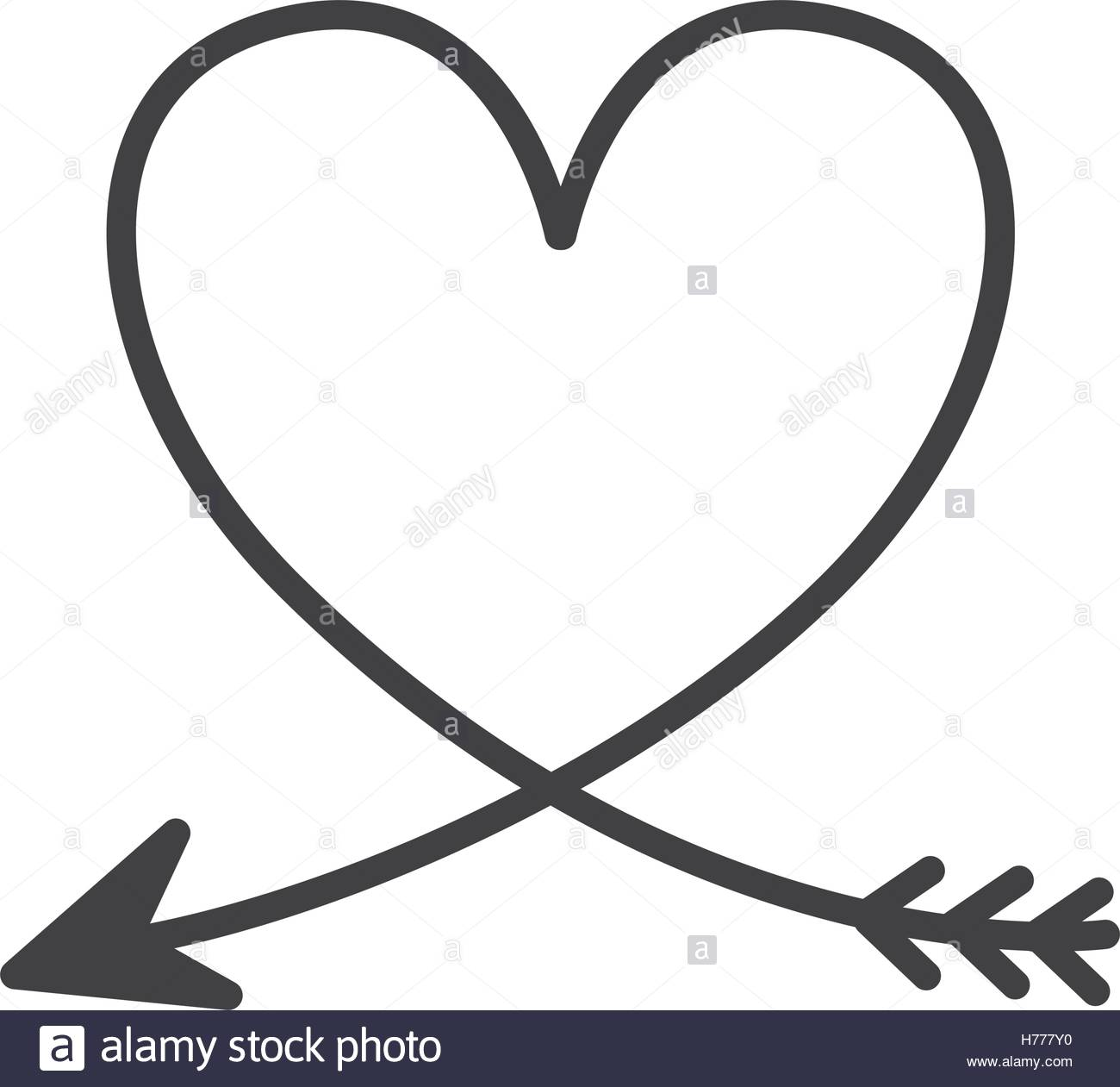 1300x1261 Silhouette Of Heart With Arrow Vector Illustration Stock Vector