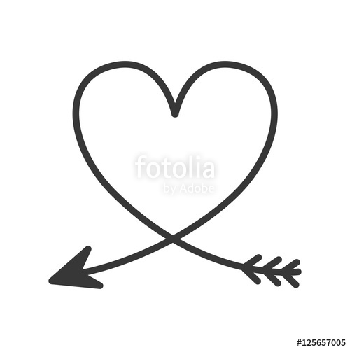500x500 Silhouette Of Heart With Arrow Vector Illustration Stock Image