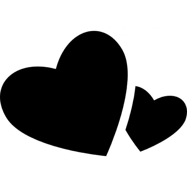 626x626 Big And Small Heart Silhouette Icons Free Download