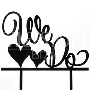300x300 We Do Amp Love Hearts Black Acrylic Engagement Wedding Cake Topper