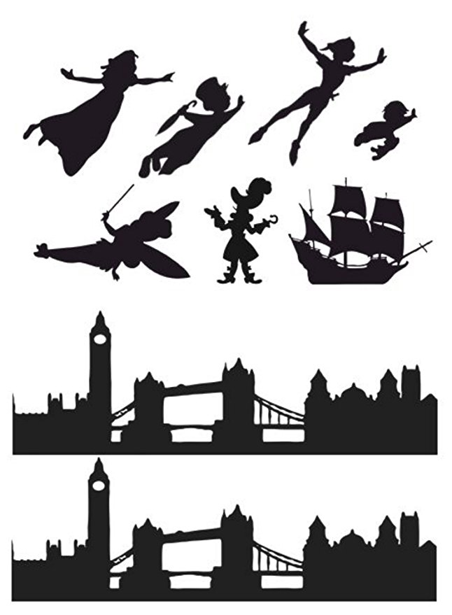 646x879 Peter Pan, Wendy, London Skyline Silhouette Edible Icing Decor