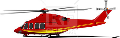 400x127 Red Yellow Helicopter (Side View) Royalty Free Vector Clip Art