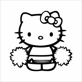343x345 Cheerleader Hello Kitty Vinyl Die Cut Decal Sticker 6.00 Black By