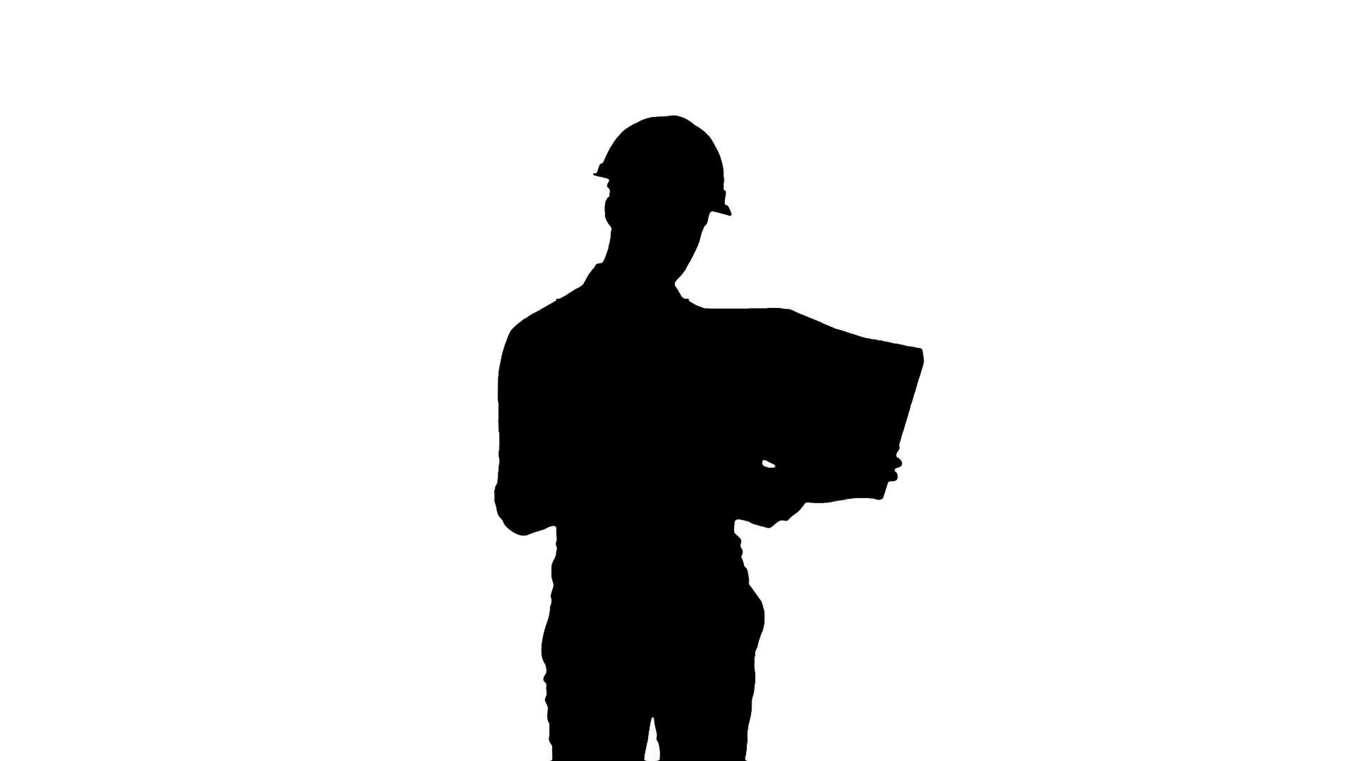 1920x1080 Silhouette Young Engineer In Helmet Checking Construction Drawings