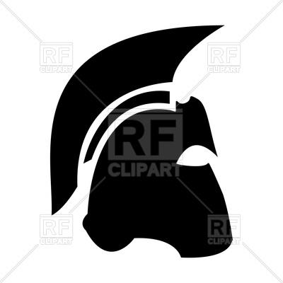 400x400 Spartan Helmet Black Silhouette Royalty Free Vector Clip Art Image