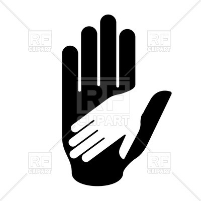 400x400 Helping Hand In Black And White Colors Royalty Free Vector Clip
