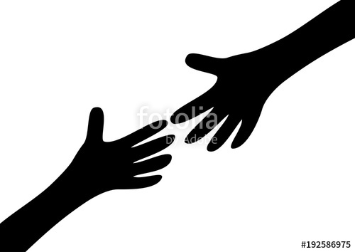500x354 Two Arms Hands Black Silhouette Reaching To Each Other. Child