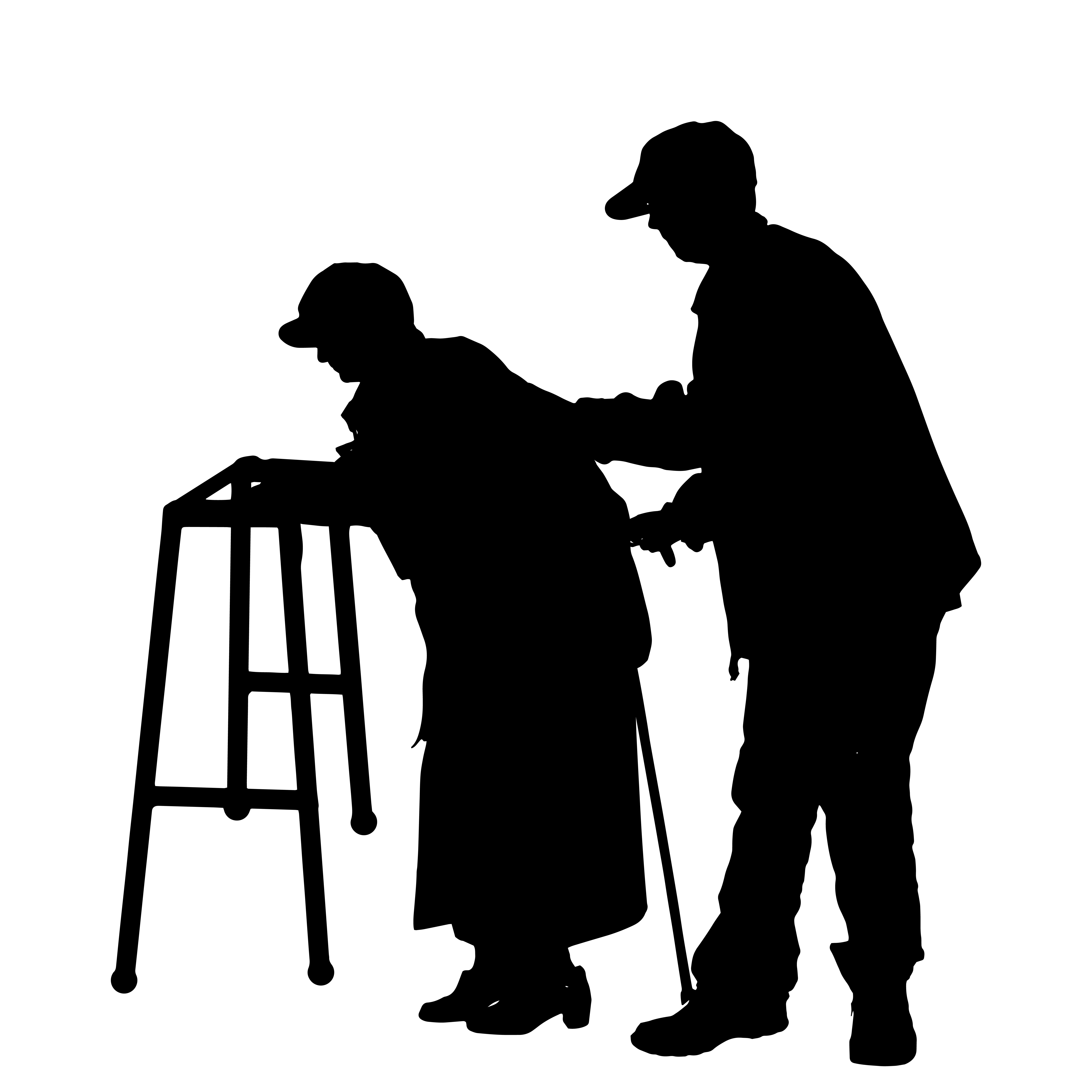 6250x6250 Vector Silhouette Of Old People.