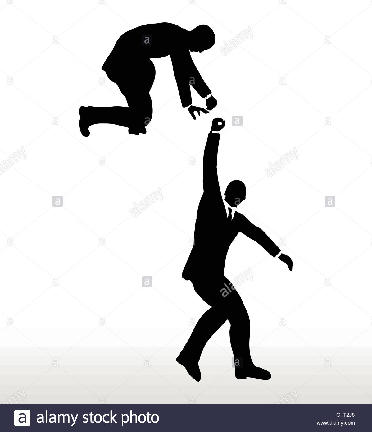 1198x1390 Silhouette Of Two Businessmen Team Holding On With A Helping Hand