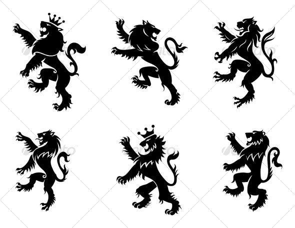 590x456 Heraldic Lions Lions, Tattoo And Tatting