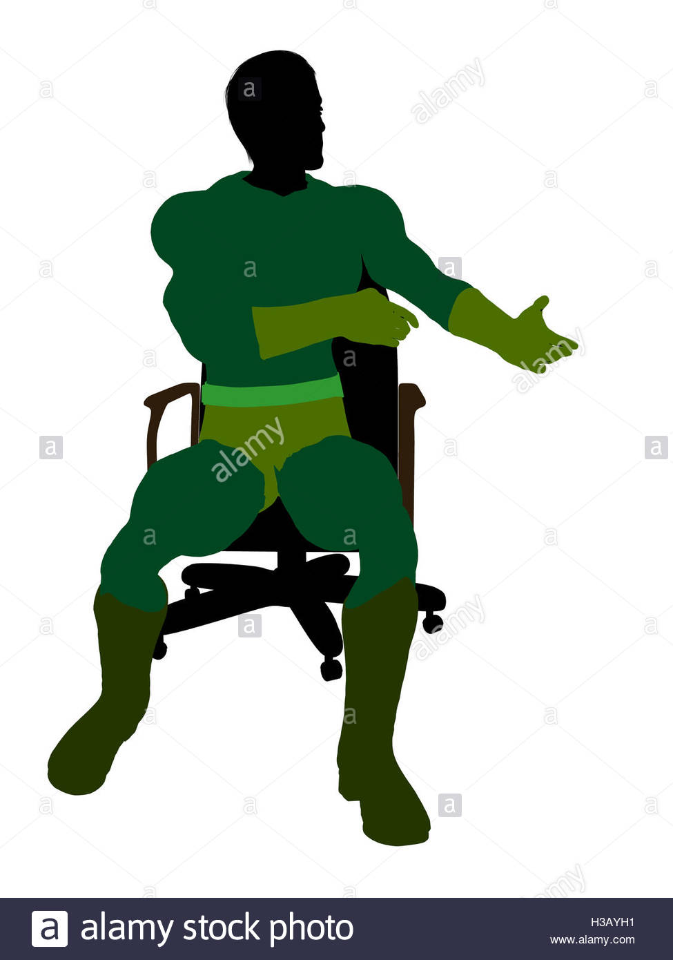 975x1390 Male Super Hero Sitting On A Chair Illustration Silhouette Stock