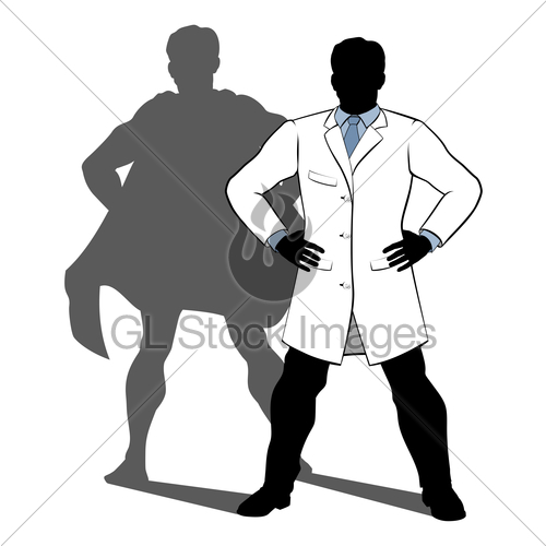 500x500 Scientist Super Hero Silhouette Gl Stock Images